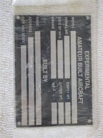 Experimental Arcraft Blank Data Plate